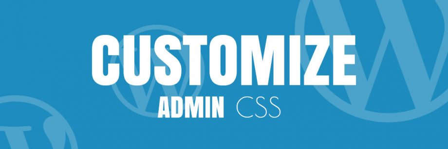 WP - Customize admin css